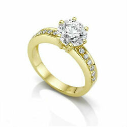 14 KARAT YELLOW GOLD DIAMOND ROUND RING 1.86 CT SIDE STONES VS1 D SIZE 7 8 9
