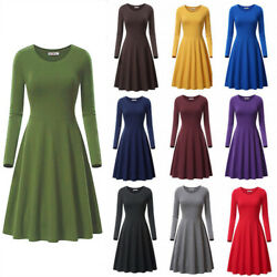Womens Jersey Swing Loose Long Sleeve Midi Dress High Waist Party Skater Dress