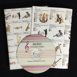 Music Embroidery Designs Multi-format CD for Viking  Brother Pfaff Singer