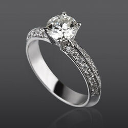 DIAMOND SOLITAIRE ACCENTED RING 18 KT WHITE GOLD VVS2 1.62 CARATS WOMEN GENUINE