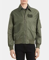 NWT $178 Calvin Klein Men's Water-Resistant Bomber Jacket Coat Military Green