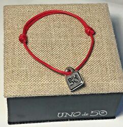 Authentic UNO de 50 ADJUSTABLE Red Bracelet with Silver UNOde50 Charm - NEW