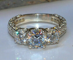 2.23Ct Round cut Solitaire Diamond Engagement Bridal Ring Solid 14k White Gold