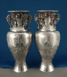 Signed Antique Japanese Meiji Silver Vases Figures & Birds Chinese Wooden Stands