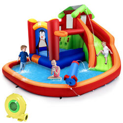 Inflatable Slide Bouncer Water Park Funny w Splash Pool Water Cannon & Blower