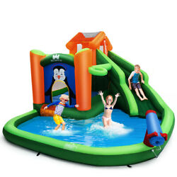 Inflatable Water Park Slide Bouncer w Climbing Wall Splash Water Cannon Funny