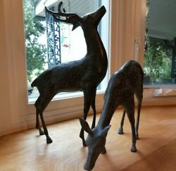Pair of Buck and Doe Metal Statues Vintage 1970s Classic Decor $179.99