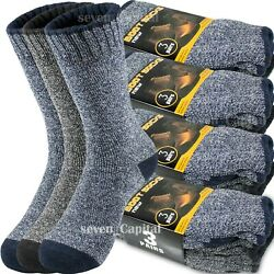 3 12 Pair Mens Winter Thermal Warm Heavy Duty Cotton Crew Work Boots Socks 9 13 $11.88
