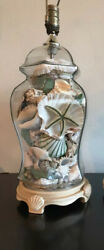 "VTG Shell Filled Glass Ginger Jar 27"" Pair Lamps Seahorse Starfish Specimen Exc $275.00"