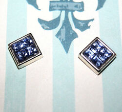 Costume Jewelry Square Post Earrings Silver Toned Blue Rhinestones 38
