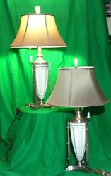 2 Quoizel Aluminum Porcelain Contemporary Table Lamp with Jamie Young Silk Shade $349.99