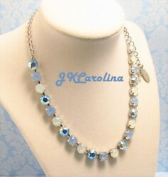 Light Blue Opal 8mm Cup Chain Necklace made w Swarovski BLUE AB NECKLACE