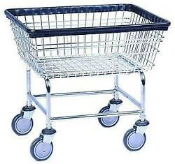 COMMERCIAL WIRE LAUNDRY BASKET CART NEW