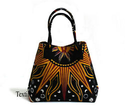 Orange Burning Sun Women Shopping Purse Cotton Handbags Indian Handmade Tote Bag $15.28