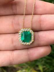 5.0tcw Natural Colombian Emerald & Diamond Halo Pendant 18