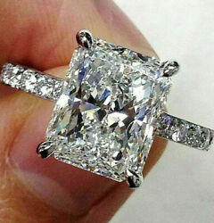 3.62ct Radiant Cut Solitaire Band Diamond Engagement Ring Solid 14K White Gold  $189.99