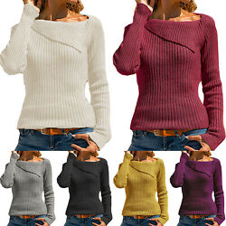 Women Long Sleeve Ribbed Knitted Jumper Pullover Sweater Knitwear Tops Plus Size