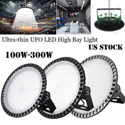 300W 200W 100W LED High Bay Light Warehouse Bright White Factory Commercial Lamp