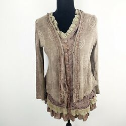 Pretty Angel Brown Bohemian Style Layered Look Cardigan Top Size Small