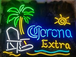 Corona Extra Beach Chair Palm Tree Neon Light Sign 20quot;x16quot; Beer Cave Bar Glass $127.99