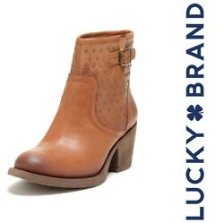 LUCKY BRAND Butler Stud Bootie Womens 6.5 M Bombay Cognac Brown Leather $149