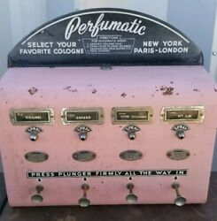 vintage MID-CENTURY 1950s PERFUMATIC VENDING MACHINE PINK LADIES CHOICE SHE-SHED