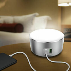LED Touch Bedside Lamp Light Bed Side Lamp 2 USB Table Desk Office Reading W9L7S