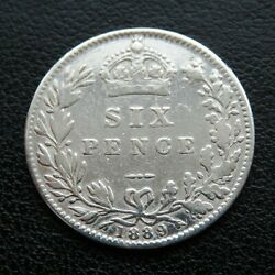 Rare Genuine Antique Victorian Sterling Silver Sixpence $25.99