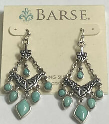 Vintage Barse Sterling Silver Turquoise Chandelier Earrings New $49.00