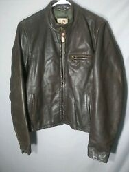 Ezra Fitch Abercrombie Mens Genuine Cafe Racer Style Leather Jacket large brown