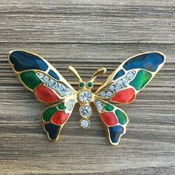 Vintage Jewelry Colorful Butterfly Red Blue Goldtone Rhinestone BROOCH PIN Lot N