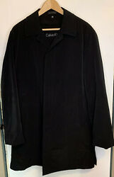 Calvin Klein Mens Trench Coat With Zip Out Liner 40R Black