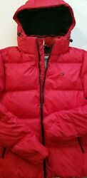 Tommy Hilfiger TH Winter Jacket Puffer Hooded Coat Red Men's Size XL Brand New