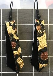 Handmade Crafted Exotic Animal Print Vintage Artisan Jewelry Earrings Ships Free