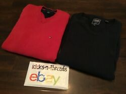 TOMMY HILFIGER CHAPS V-NECK SWEATER LOT ( MENS LARGE ) NAVY & RED PREOWNED