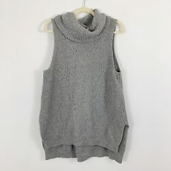 Angel Of The North Womens Gray Cowl Neck Sleeveless Hi Lo Hem Sweater Sz Large $32.99
