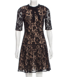 Runway! GUCCI 5K BLACK Nude Lace Dress Grosgrain Bow PRISTINE