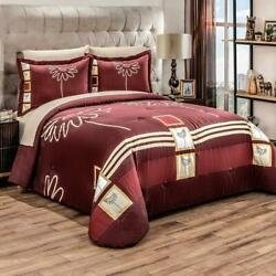 Red Sunflowers COMFORTER REVERSIBLE set QUEEN SIZE perfect gift ~3PCS decoration $119.95