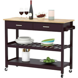 Clevr Rolling Kitchen Cart Island Trolley with Rubberwood Top Walnut Color