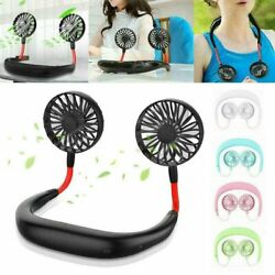 Portable USB Rechargeable Lazy Fan Hanging Neck Mini Cooling Sports Rest Fan $12.99