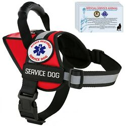 Service Dog Harness Reflective Vest Waterproof - No Pull Handle - Patches Pocket $7.49