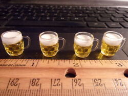 4 FILLED DIMPLE BEER MUGS  -   DOLL HOUSE  MINIATURE