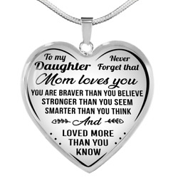 To My Daughter Mom Loves You Necklace Heart Pendant Luxury Gift For Little Girls