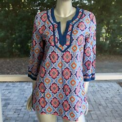 J Crew Printed Poplin Tunic Top Blue Geometric Cotton Popover Blouse Sz Large