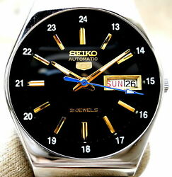 Vintage Japan Seiko 5.. Automatic 24 Hours Railway Time Day Date Mens Watch...