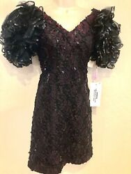 Vintage Cocktail Evening Dress Elegant Black Sequin LBD size 4 New with Tags $27.99
