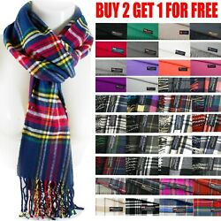 Mens Womens Winter Warm SCOTLAND Made 100% CASHMERE Scarf Scarves Plaid Wool