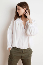 VELVET By Graham & Spencer Jacoba Cotton Poplin Oversized Peasant Blouse $168B13
