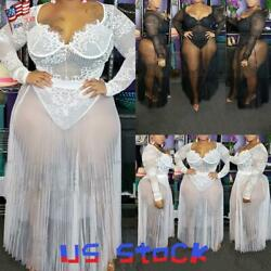 Sexy Women#x27;s Sheer Dress Lace Long Sleeve Ladies Maxi Dresses Party Plus Size US $13.59