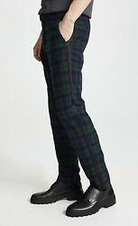 JCrew Ludlow Slim Fit Tartan Plaid Pants Wool Blend Black & Green Size 32X34